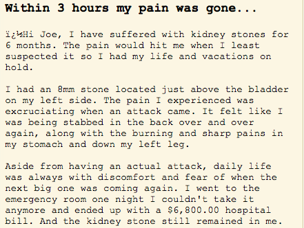article about Kidney Stone Removal Report testimonial