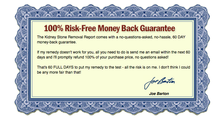 money back guarantee best Kidney Stone Removal Report review